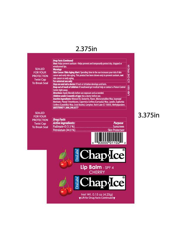 Oralabs Chapice Cherry Spf 4 Lip Balm (Padimate O, Petrolatum) Stick [Oralabs]
