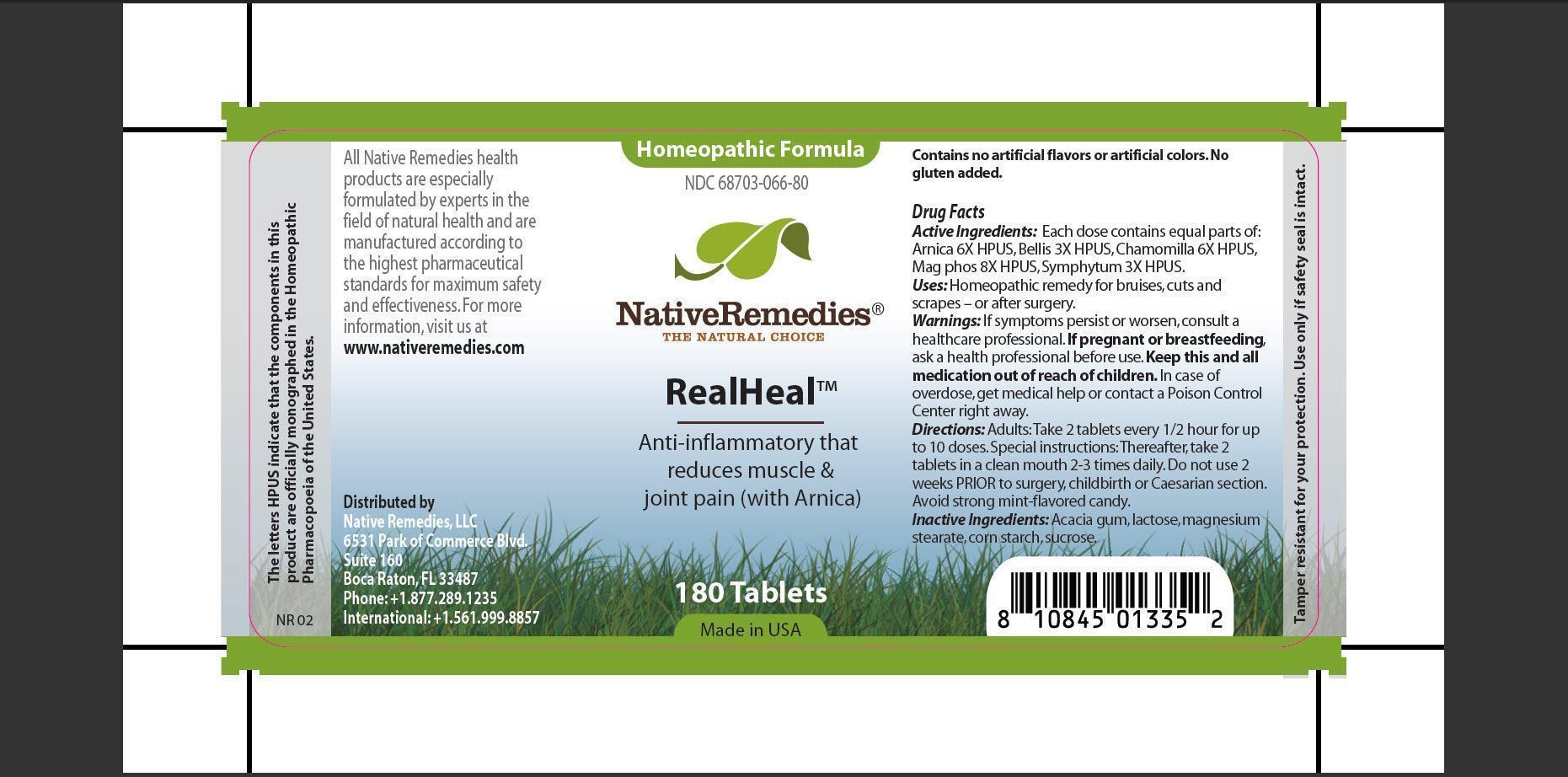 Realheal (Arnica, Bellis, Chamomilla, Mag Phos, Symphytum, Acacia Gum, Lactose, Magnesium Stearate, Corn Starch, Sucrose) Tablet [Native Remedies, Llc]