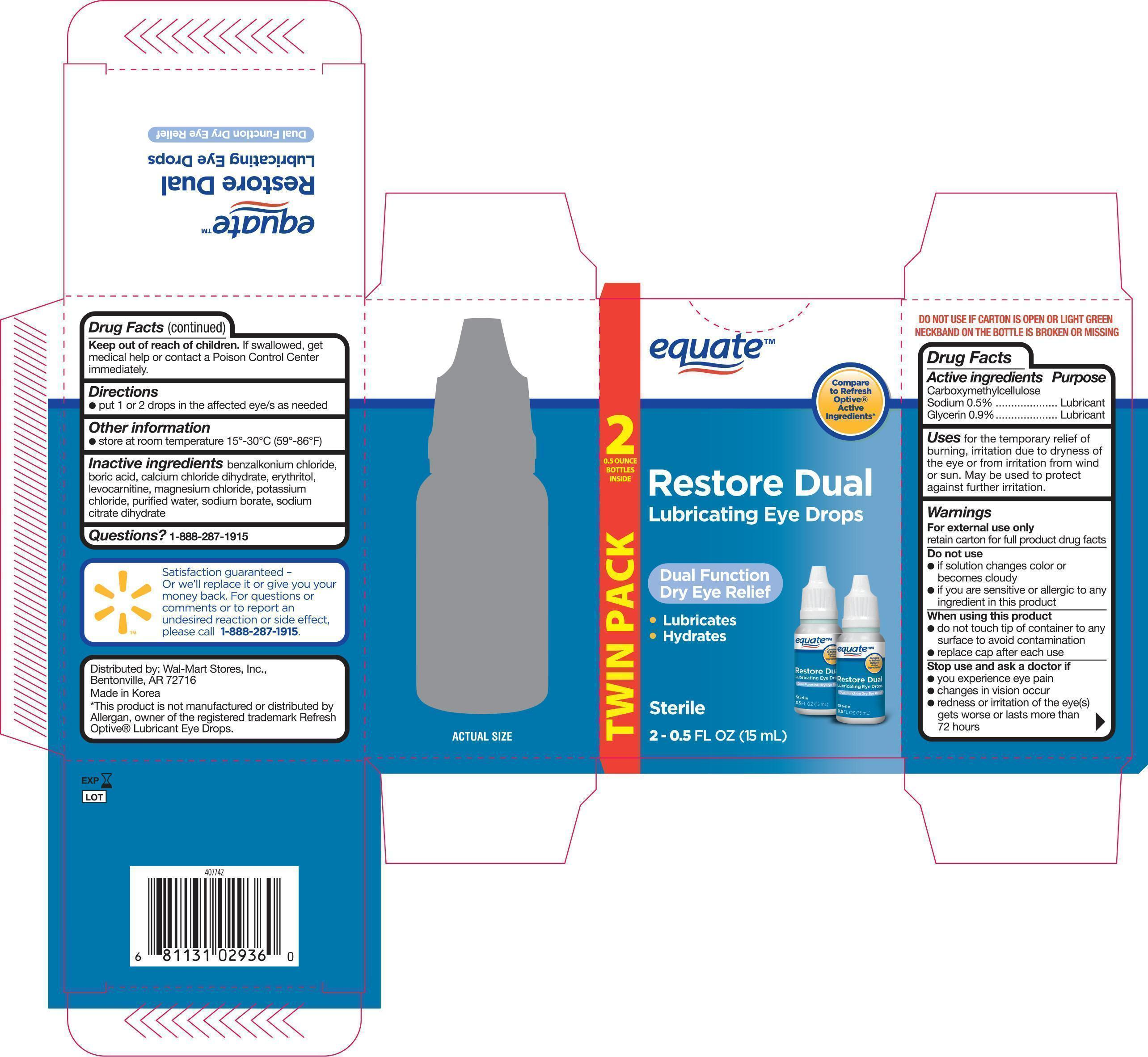 Equate Lubricating Eye Drops (Carboxymethylcellulose Sodium, Glycerin) Solution [Wal-mart Stores Inc]