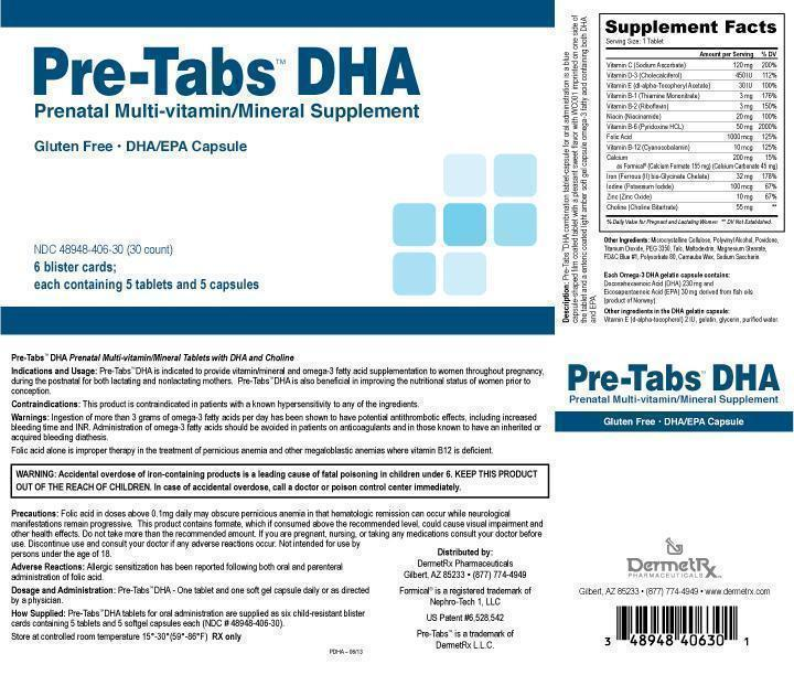 Pre-tabs Dha Prenatal Multi-vitamin/mineral Supplement With Dha/epa (Sodium Ascorbate, Cholecalciferol, Di-alpha-tocopheryl Acetate, Thiamine Mononitrate, Riboflavin, Niacinamide, Pyridoxine Hcl, Folic Acid, Cyanocobalamin, Calcium Formate, Calcium Carbonate, Ferrous (Ii) Bis-glycinate Chelate, Potassium Iodide, Zinc Oxide, Choline Bitartrate, With Doconexent And Icosapent) Kit [Deremetrx Llc]