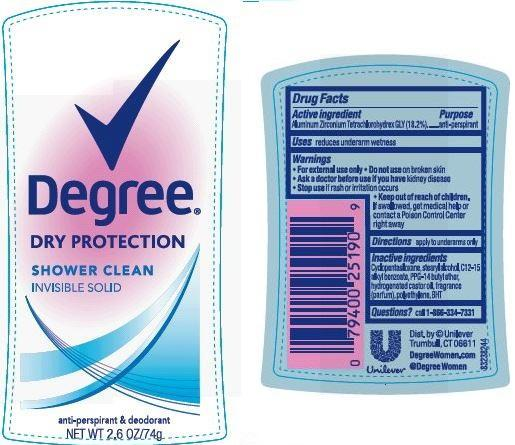 Degree Shower Clean Antiperspirant And Deodorant (Aluminum Zirconium Tetrachlorohydrex Gly) Stick [Conopco Inc. D/b/a Unilever]
