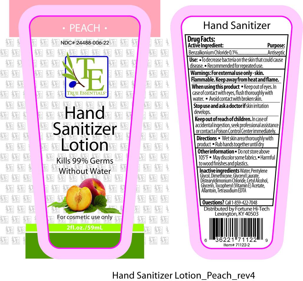 True Essentials Peach Hand Sanitizer (Benzalkonium Chloride) Cream [Fortune Hi-tech]