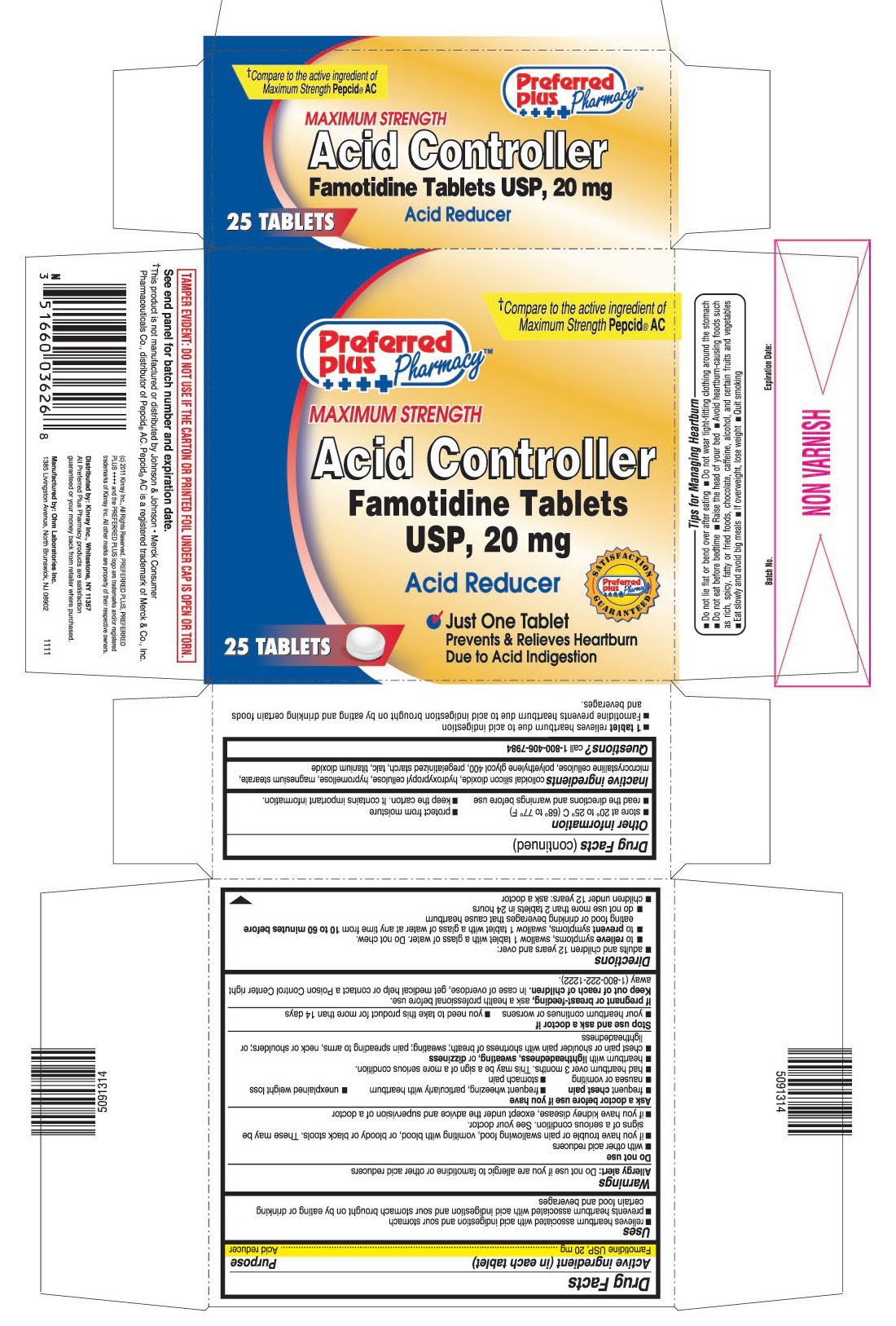 This is the 25 count blister carton label for Preferred Plus Famotidine tablets USP, 20 mg.