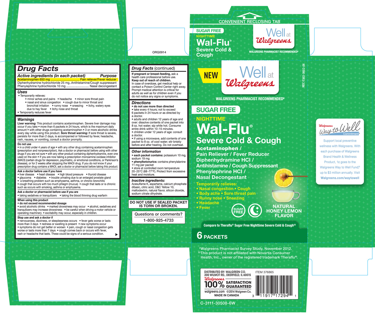 Walgreens Sugar Free Nighttime Wal-flu Severe Cold And Cough Natural Honey Lemon Flavor (Acetaminophen, Diphenhydramine Hcl, And Phenylephrine Hcl.) Granule, For Solution [Walgreen Co.]