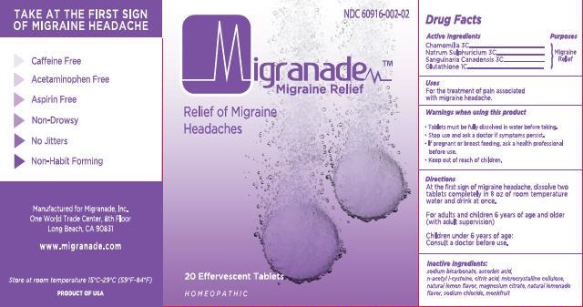 Migranade (Chamomilla, Natrum Sulphuricum, Sanguinaria Canadensis, Glutathione) Tablet [Migranade Inc.]