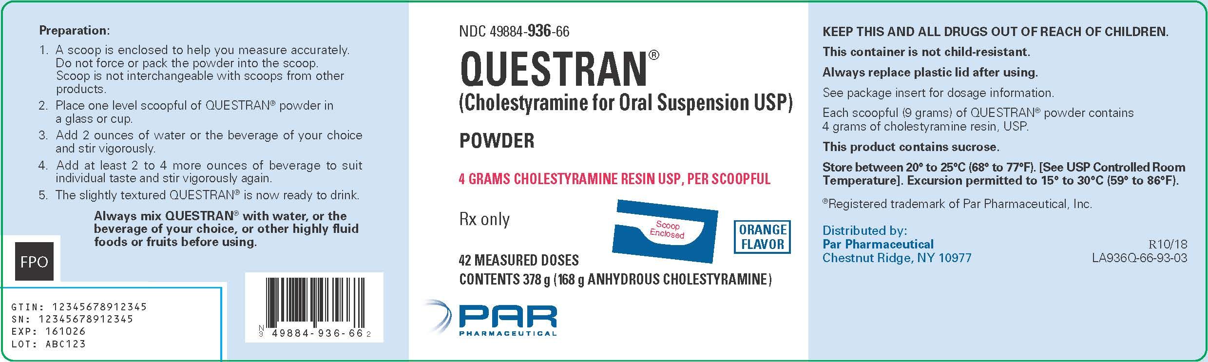 Questran Label - QPSI