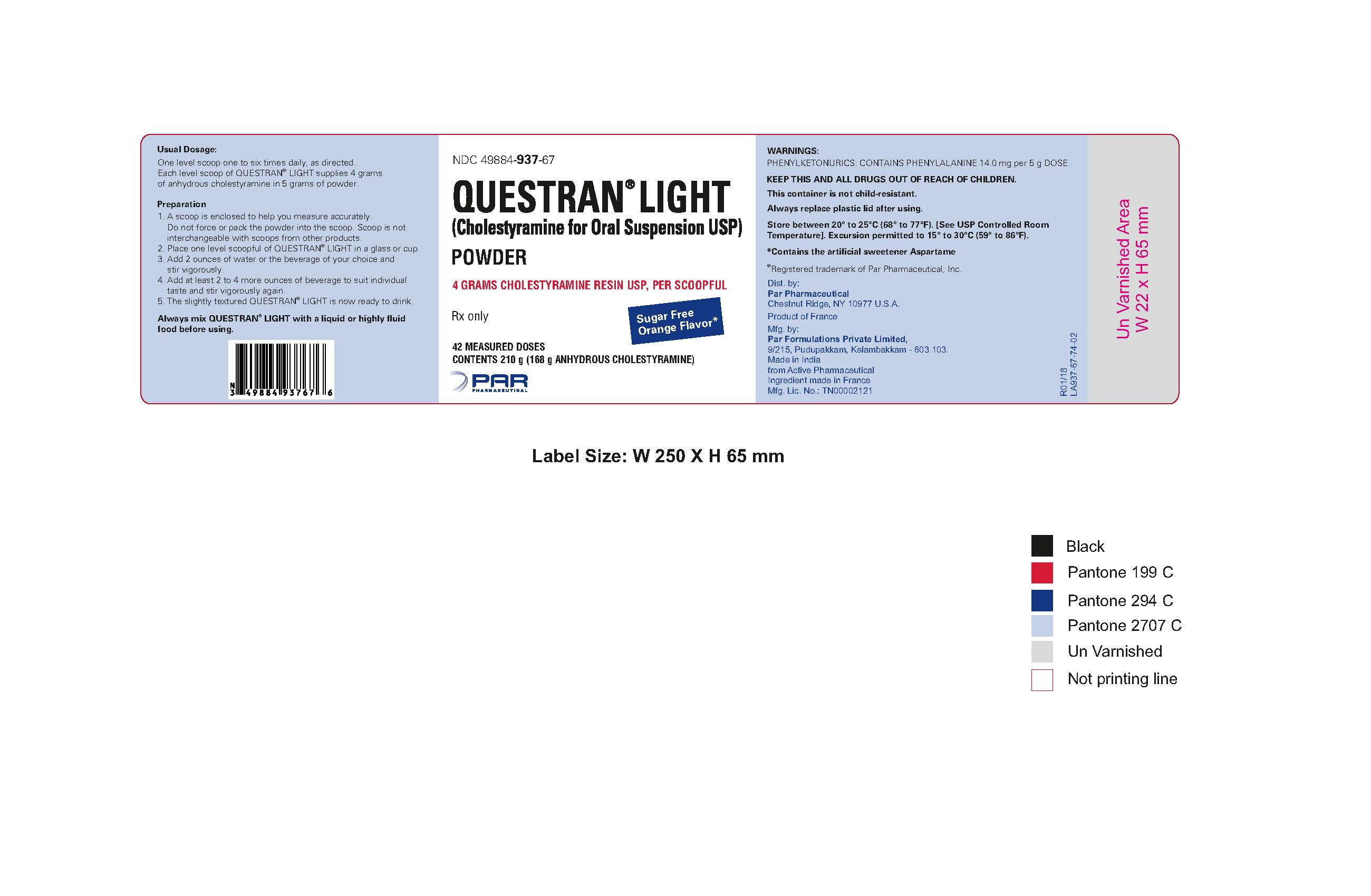 Questran Light Can Label