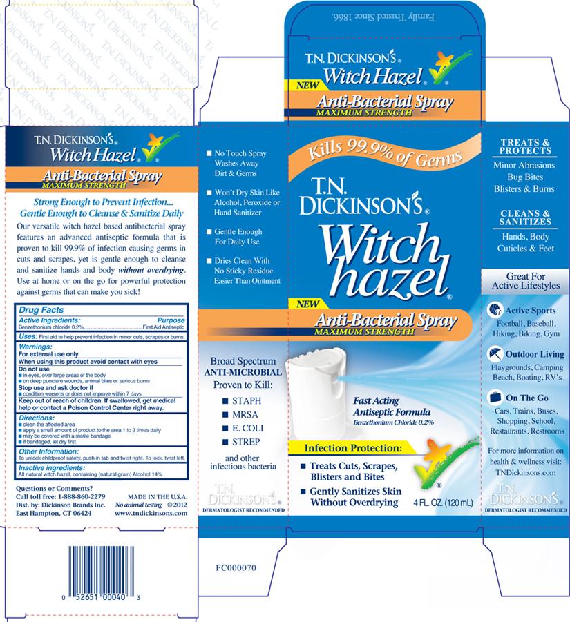 Tn Dickinsons Witch Hazel Antibacterial (Benzethonium Chloride) Spray [Dickinson Brands Inc.]