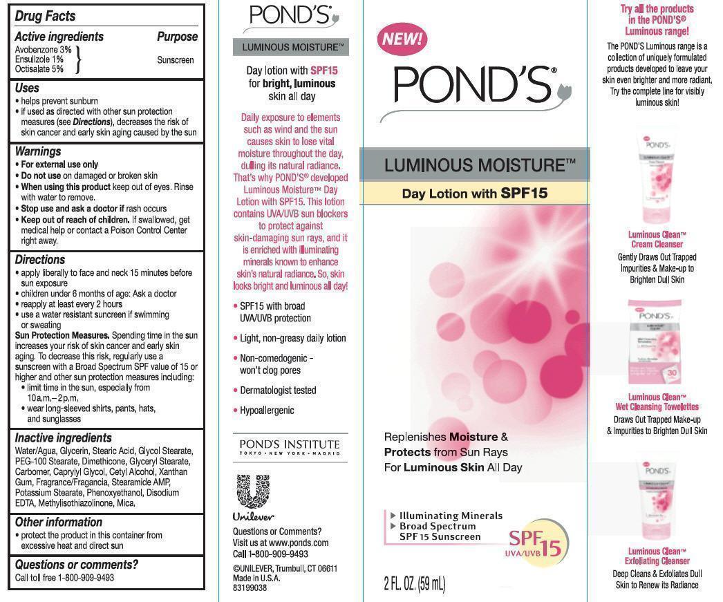 Ponds Luminous Moisture Day Spf 15 (Avobenzone, Ensulizole, Octicsalate) Lotion [Conopco Inc. D/b/a Unilever]