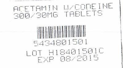 Acetaminophen With Codeine (Acetaminophen, Codeine Phosphate) Tablet [Pharmpak, Inc.]