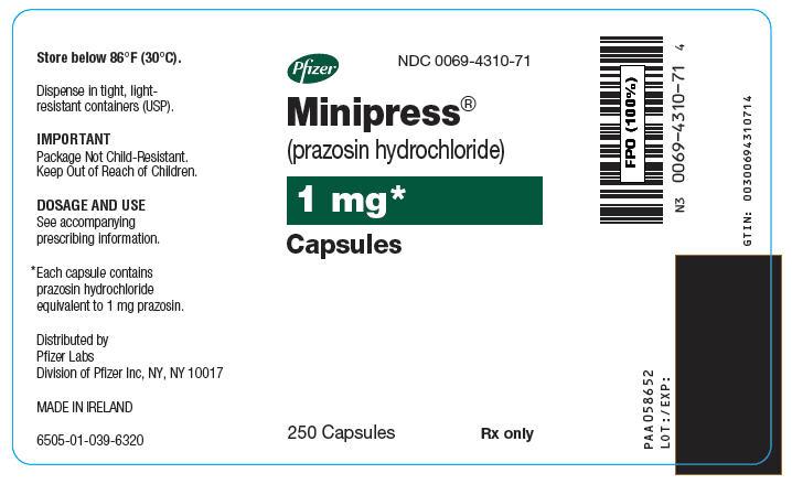 Minipress (Prazosin Hydrochloride) Capsule [Pfizer Laboratories Div Pfizer Inc]
