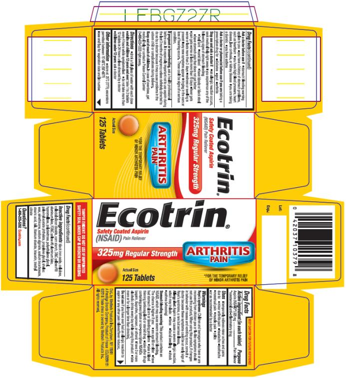 PRINCIPAL DISPLAY PANEL The Aspirin Regimen That's Smart For Your Heart Ecotrin Safety Coated Aspirin (NSAID) Pain Reliever #1 CARDIOLOGIST Recommended Aspirin 325 mg Regular Strength 125 Tablets