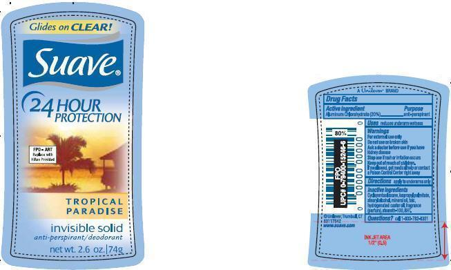 Suave Tropical Paradise Antiperspirant And Deodorant (Aluminum Chlorohydrate) Stick [Conopco Inc. D/b/a Unilever]