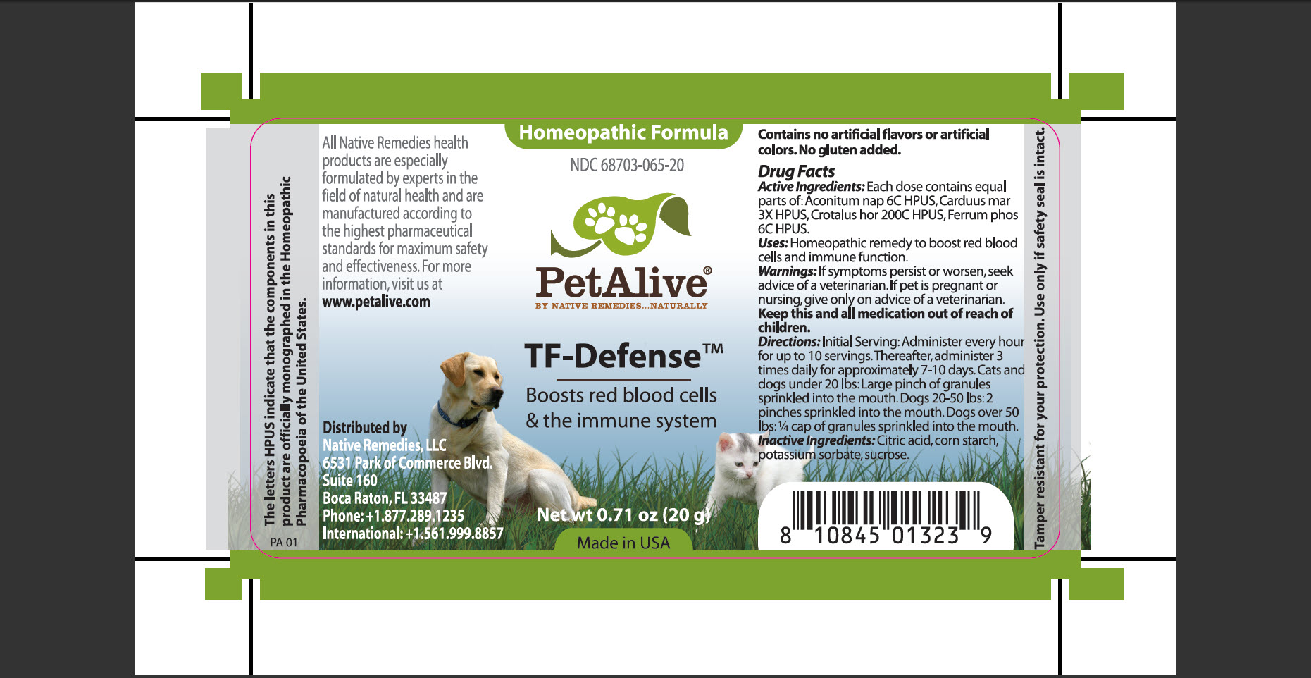 Petalive Tf-defense (Aconitum Nap, Carduus Mar, Crotalus Hor, Ferrum Phos) Granule [Native Remedies, Llc]