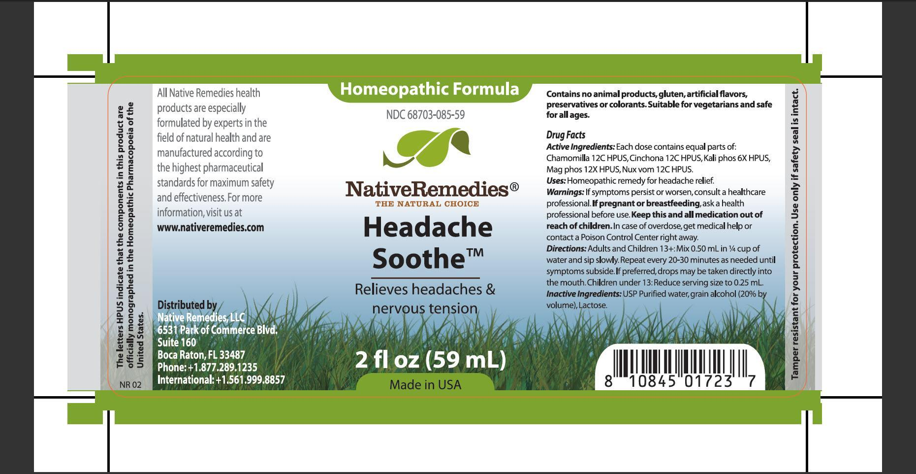 Headache Soothe (Chamomilla, Cinchona, Kali Phos, Mag Phos, Nux Vom) Tincture [Native Remedies, Llc]