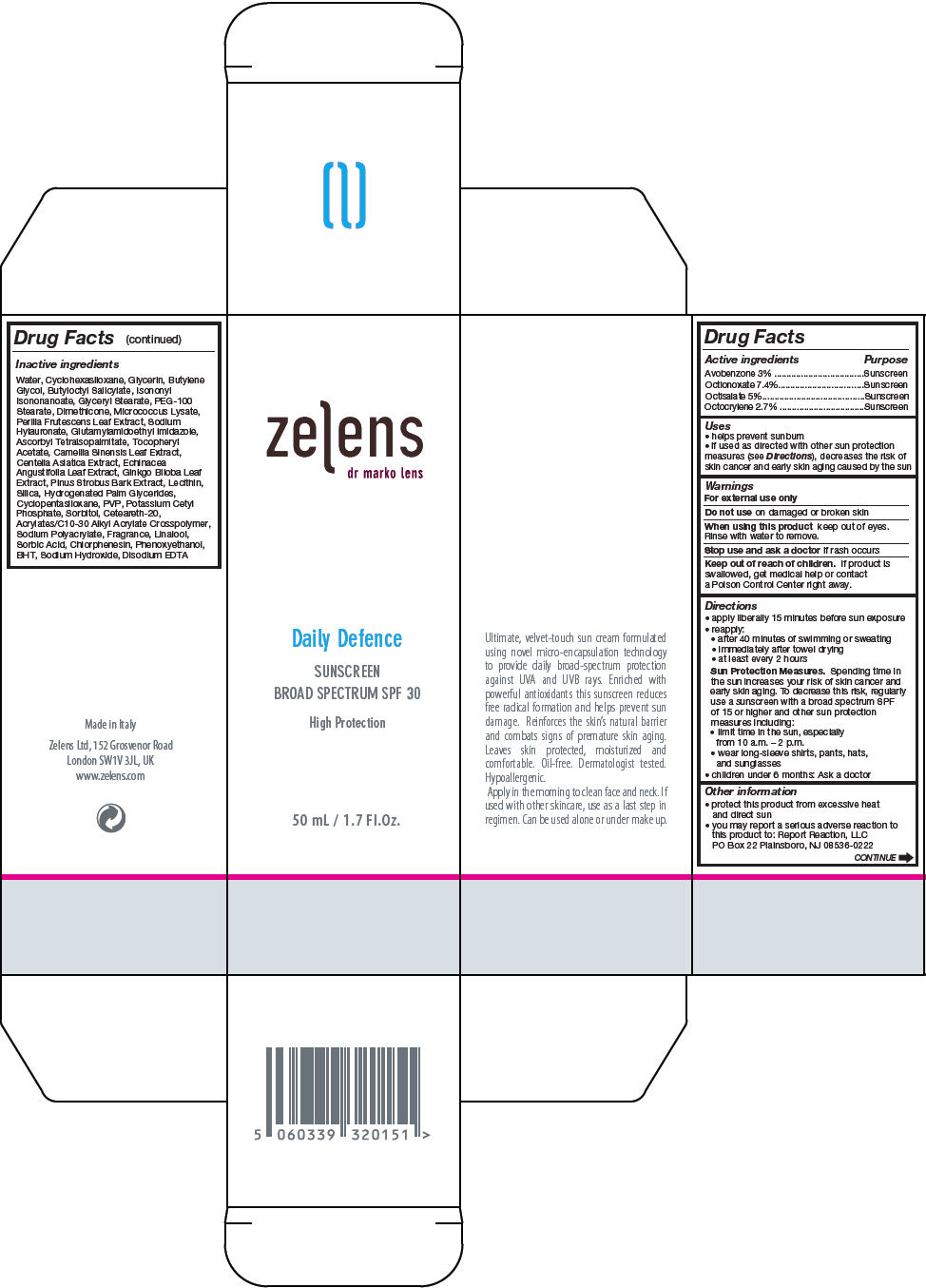 Daily Defence Sunscreen Broad Spectrum Spf30 (Octinoxate, Octisalate, Avobenzone, And Octocrylene) Cream [Zelens Limited]