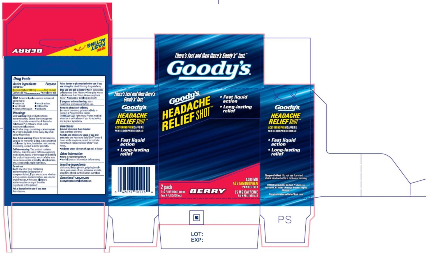 Goodys Headache Relief Shot (Acetaminophen And Caffeine) Liquid [Medtech Products Inc.]