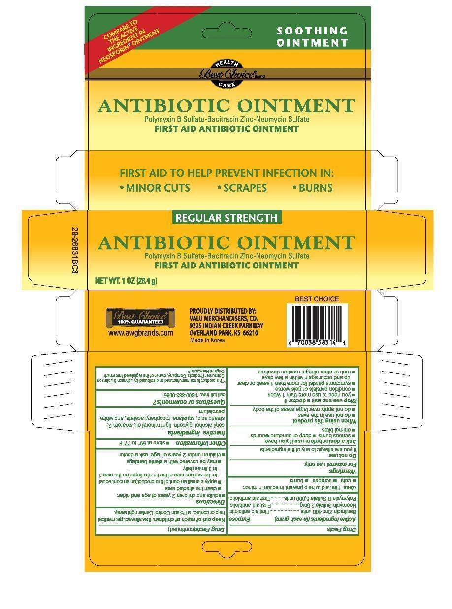 Triple Antibiotic (Bacitracin Zinc, Neomycin Sulfate, Polymyxin B) Ointment [Valu Merchandisers, Co.]