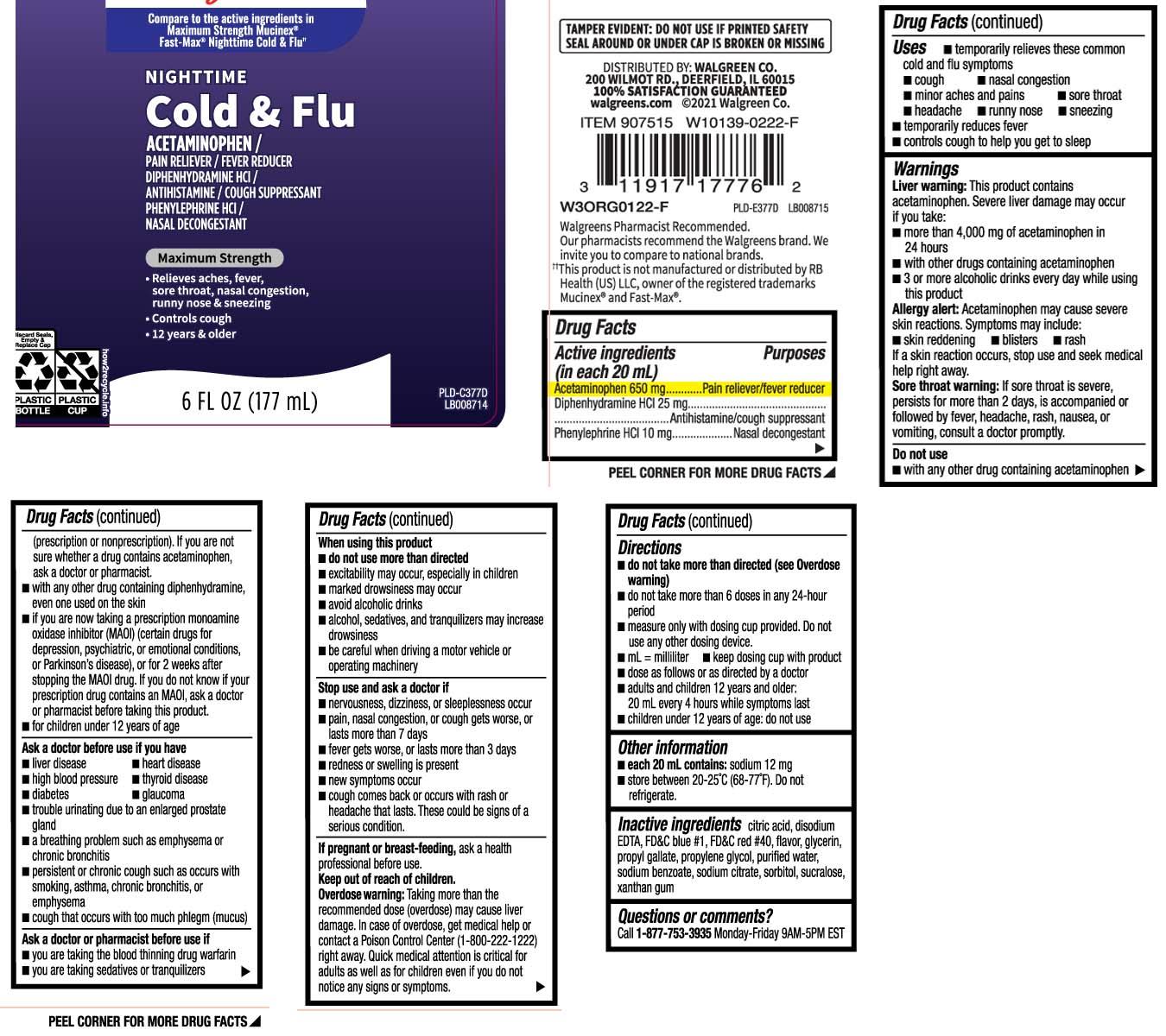 Nighttime Cold And Flu Maximum Strength (Acetaminophen, Diphenhydramine Hci, Phenylephrine Hci) Liquid [Walgreens]