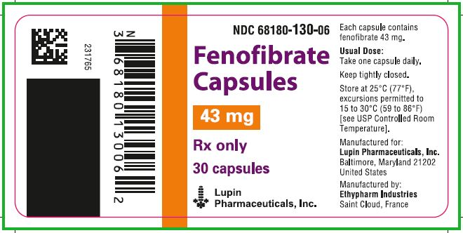 NDC 68180-130-06  Fenofibrate Capsules  43 mg  Rx only  30 capsules  							Lupin Pharmaceuticals, Inc.