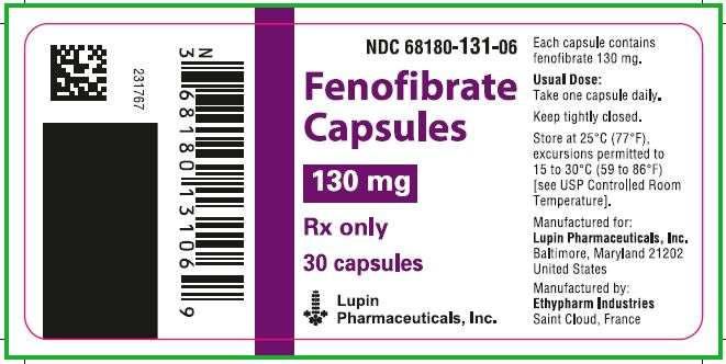 NDC 68180-131-06  Fenofibrate Capsules  130 mg  Rx only  30 capsules  							Lupin Pharmaceuticals, Inc.