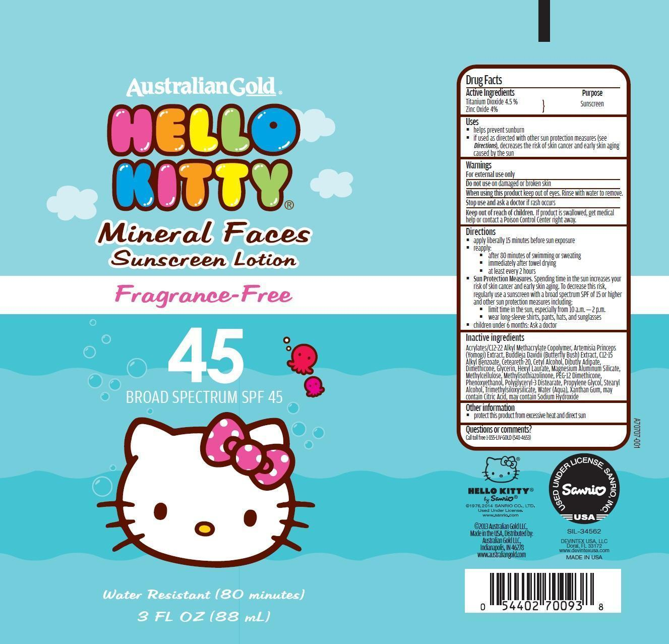 Australian Gold Hello Kitty Broad Spectrum Spf 45 (Titanium Dioxide And Zinc Oxide) Lotion [Prime Enterprises, Inc.]
