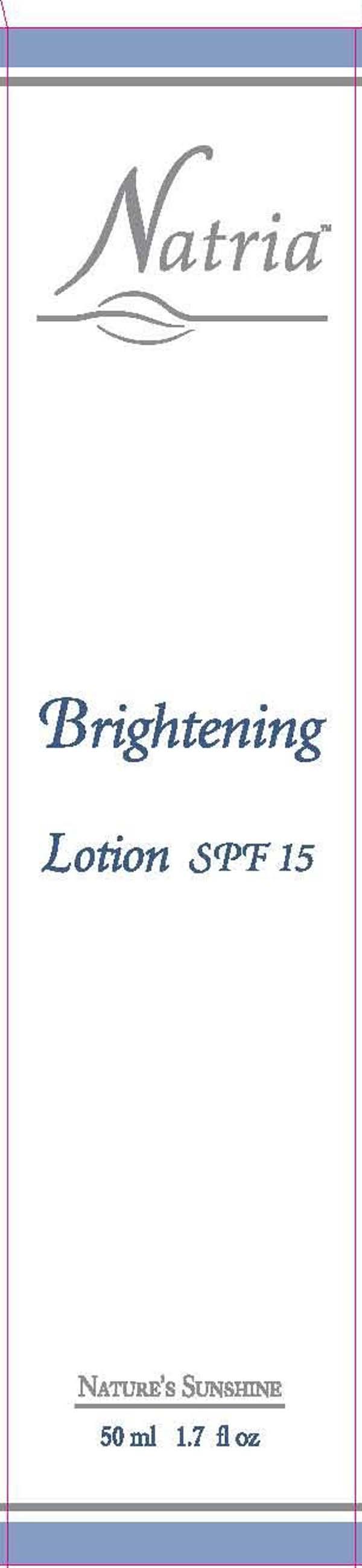 Natria Brightening Spf 15 (Ethylhexl Methoxycinnamate, Zinc Oxide) Cream [Wasatch Product Development]