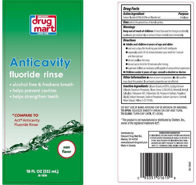 Discount Drug Mart Anticavity Fluoride Rinse Mint Flavor (Sodium Fluoride) Liquid [Discount Drug Mart]