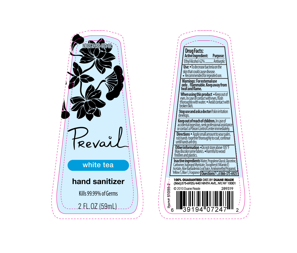 Prevail Hand Sanitizer White Tea (Alcohol) Gel [Creation's Garden Natural Products, Inc]