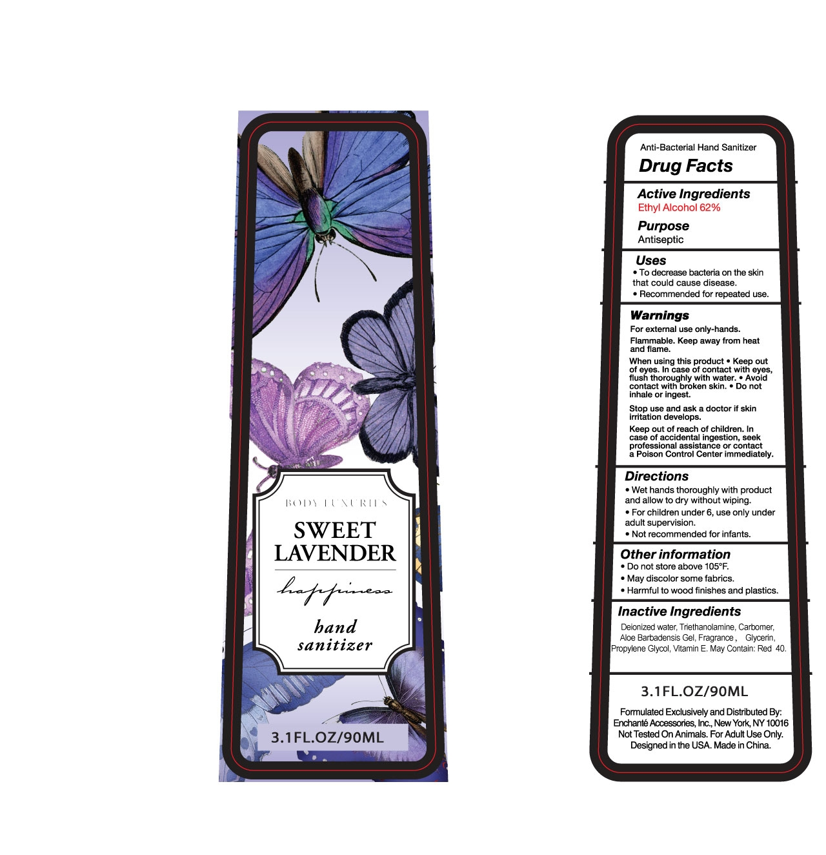 Body Luxuries Sweet Lavender Hand Sanitizer (Alcohol) Liquid [Enchante Accessories Inc. ]