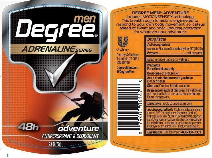 Degree Adrenaline Adventure Antiperspirant And Deodorant (Aluminum Zirconium Tetrachlorohydrex Gly) Stick [Conopco Inc. D/b/a Unilever]