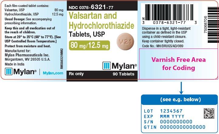Valsartan and Hydrochlorothiazide Tablets, USP 80 mg/12.5 mg Bottle Label