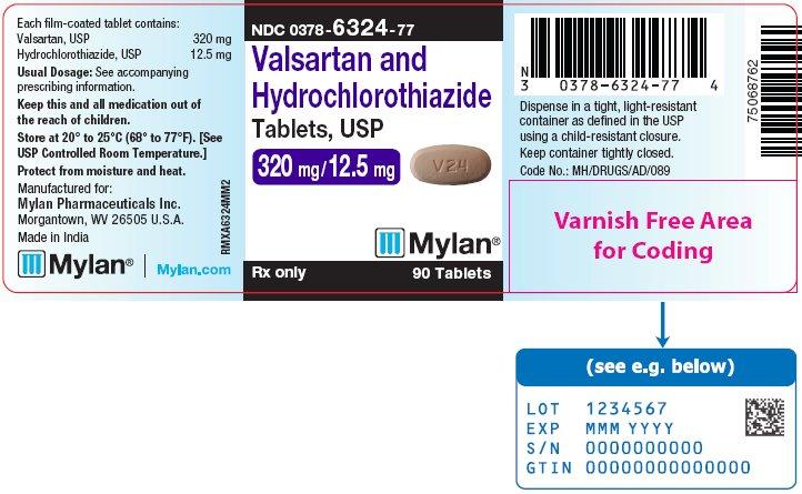 Valsartan and Hydrochlorothiazide Tablets, USP 320 mg/12.5 mg Bottle Label