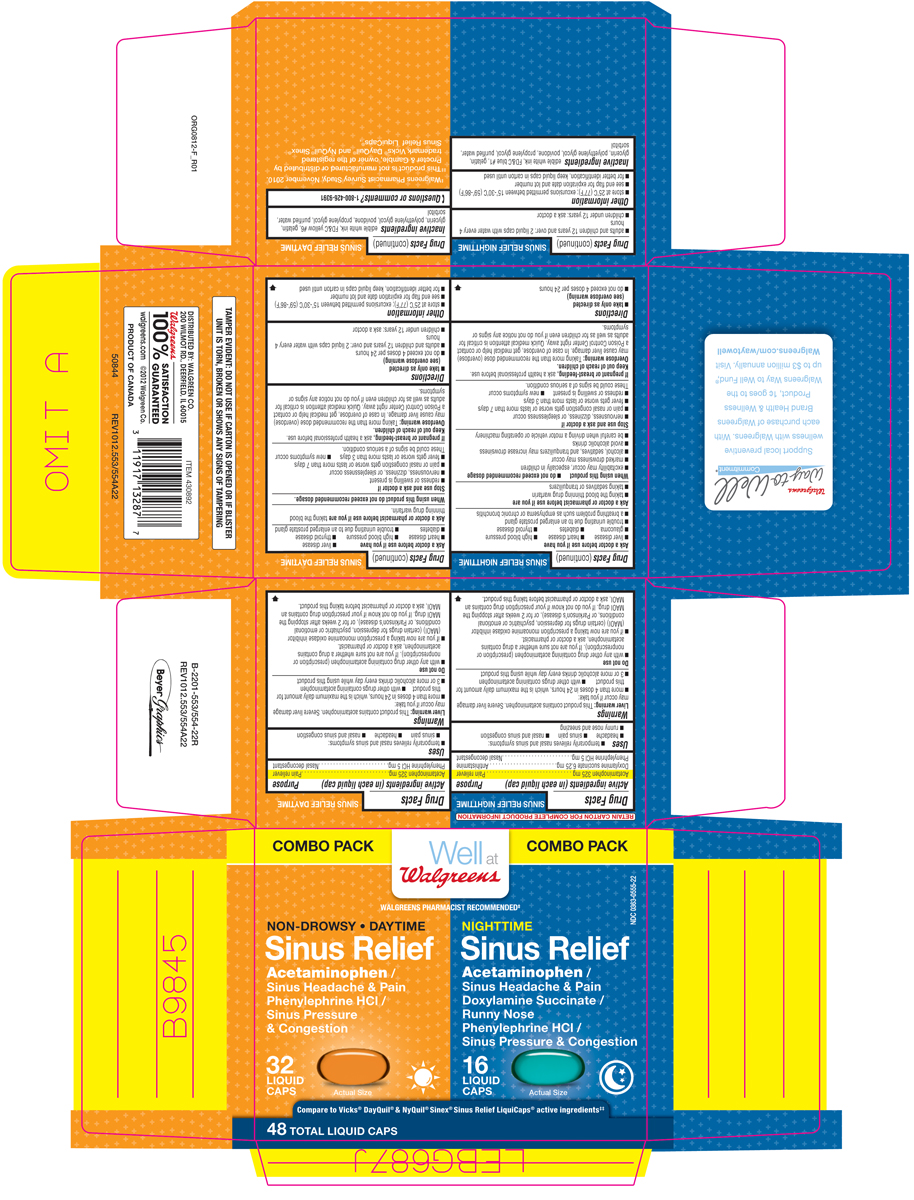 Sinus Relief Daytime Nighttime (Acetaminophen, Doxylamine Succinate, Phenylephrine Hcl) Kit [Walgreen Co.]
