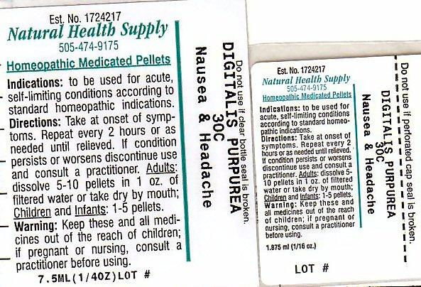 Nausea Headache (Digitalis) Pellet [Natural Health Supply]