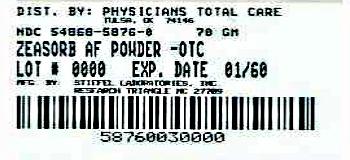 Zeasorb Antifungal Treatment Athlete's foot 2.5 oz (71 g) front label