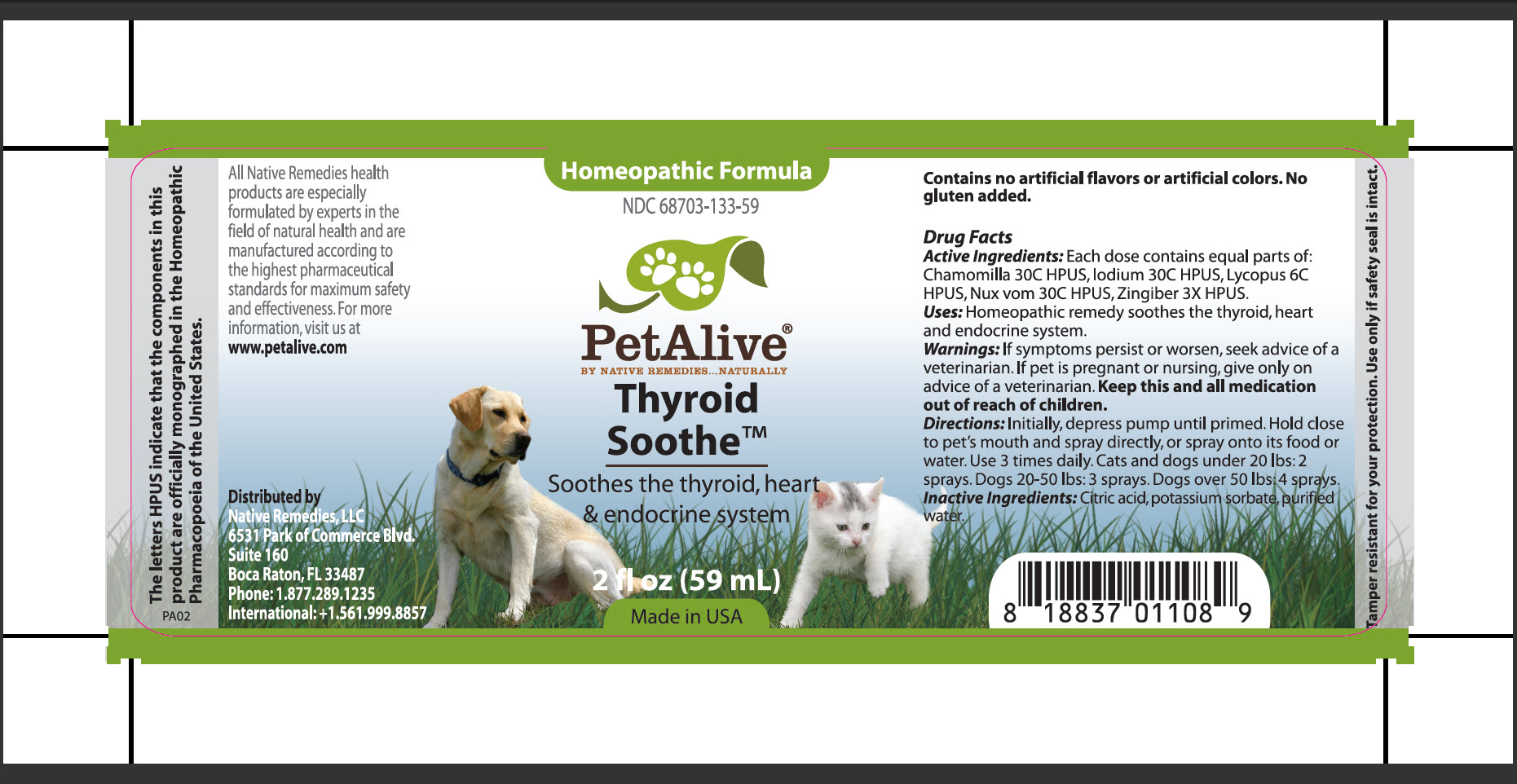 Thyroid Soothe (Chamomilla, Iodium, Lycopus, Nux Vom, Zingiber) Spray [Native Remedies, Llc]