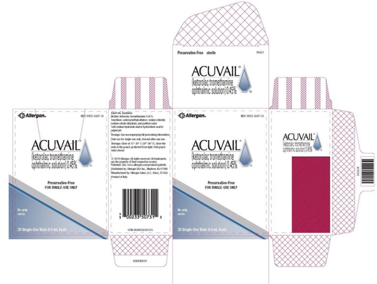 PRINCIPAL DISPLAY PANEL NDC 0023-3507-30 ACUVAIL (ketorolac tromethamine ophthalmic solution)0.45% Preservative-Free FOR SINGLE-USE ONLY Rx Only sterile