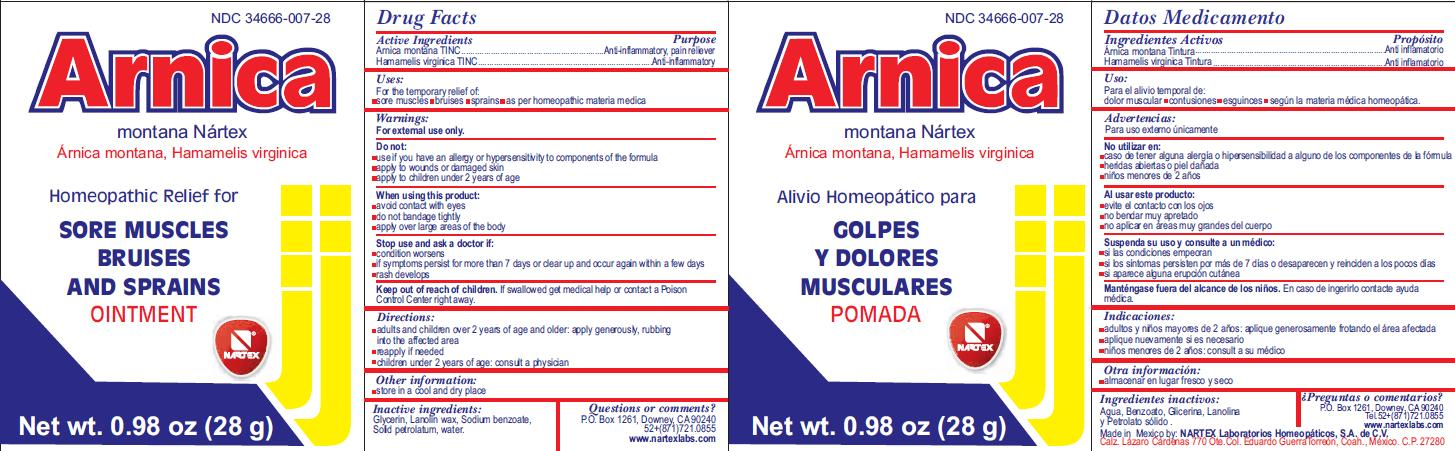 Arnica Montana Nartex (Arnica Montana, Hamamelis Virginica) Ointment [Nartex Laboratorios Homeopaticos Sa De Cv]