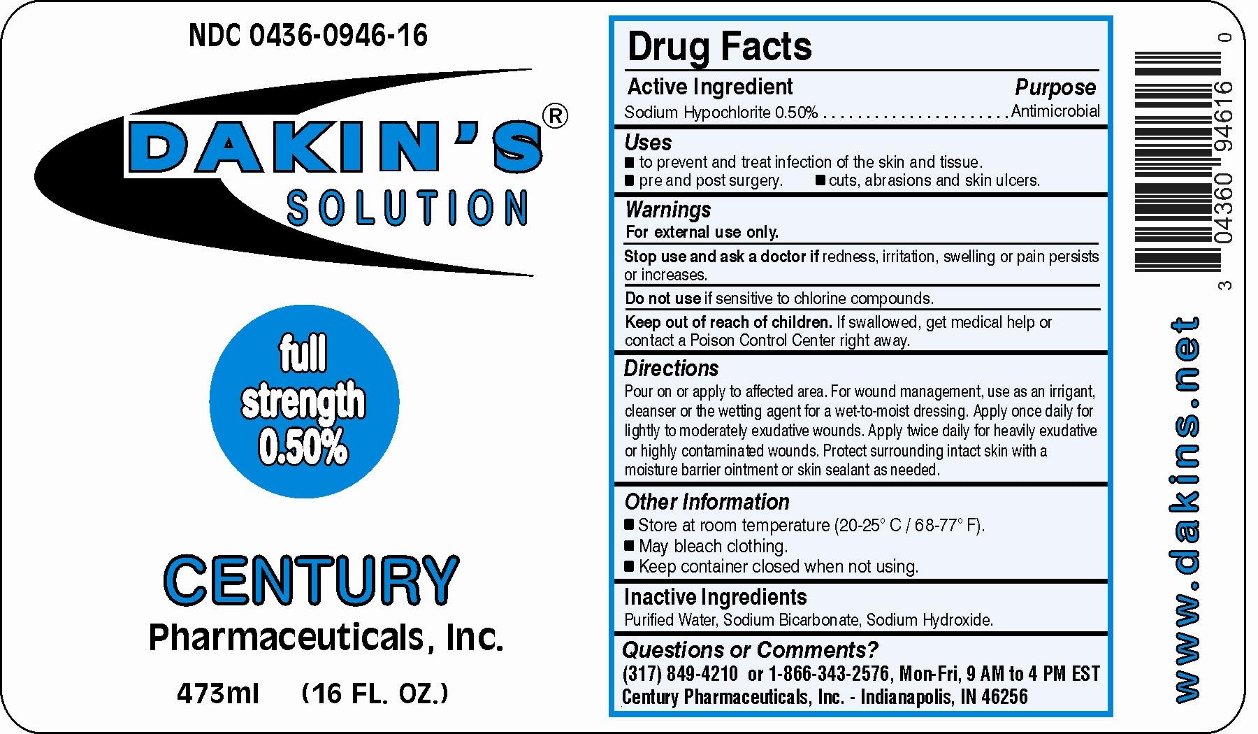 Dakins Full (Sodium Hypochlorite) Solution [Century Pharmaceuticals, Inc.]