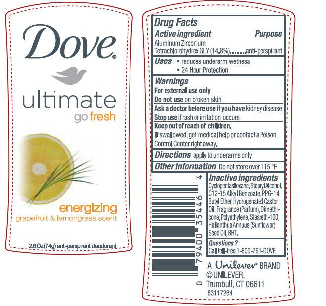 Dove Ultimate Go Fresh Energizing Antiperspirant And Deodorant (Aluminum Zirconium Tetrachlorohydrex Gly) Stick [Conopco Inc. D/b/a Unilever]
