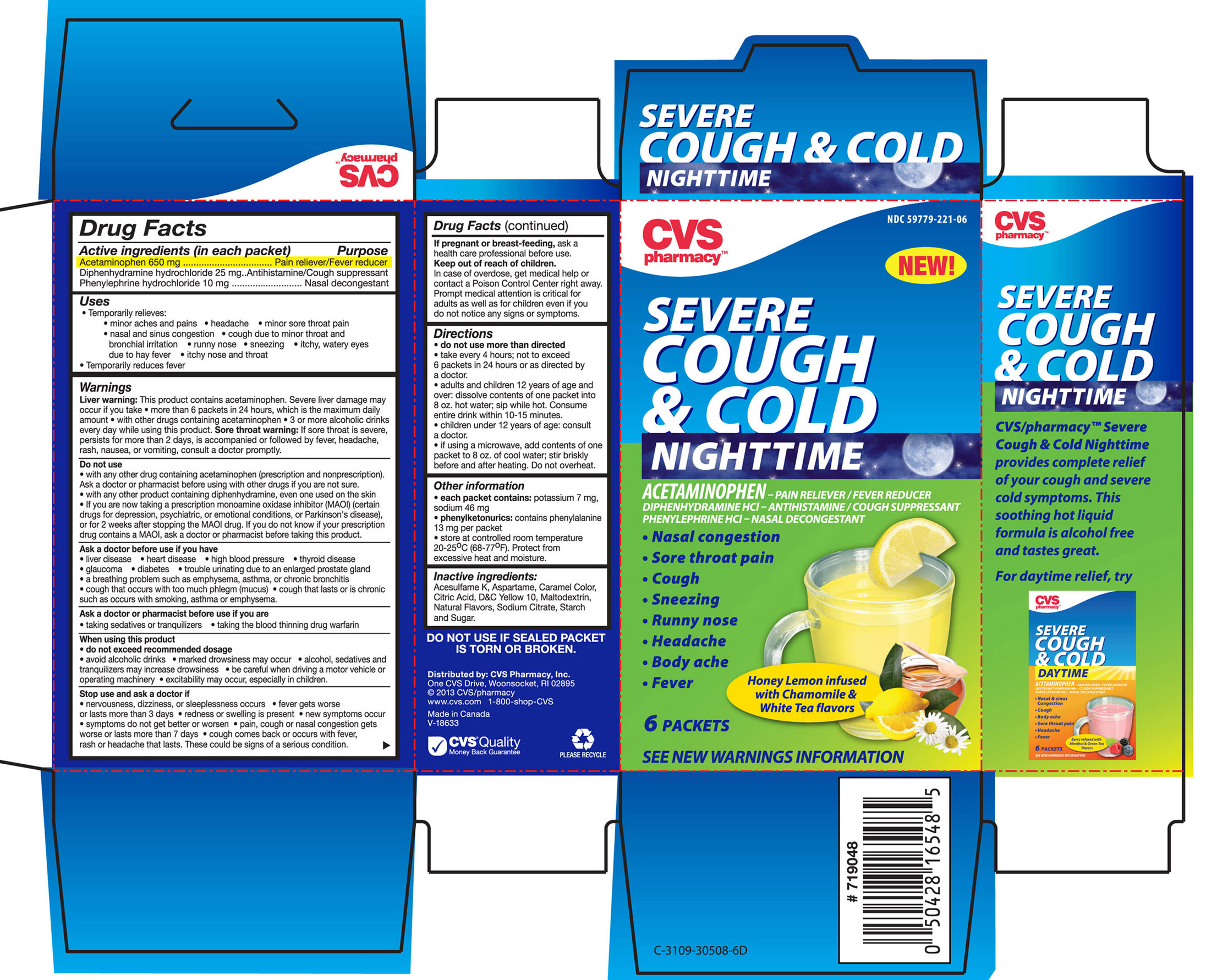 Cvs Pharmacy Nighttime Severe Cough And Cold Honey Lemon Infused With Chamomile And White Tea Flavors (Acetaminophen, Diphenhydramine Hcl And Phenylephrine Hcl) Granule, For Solution [Cvs Pharmacy]
