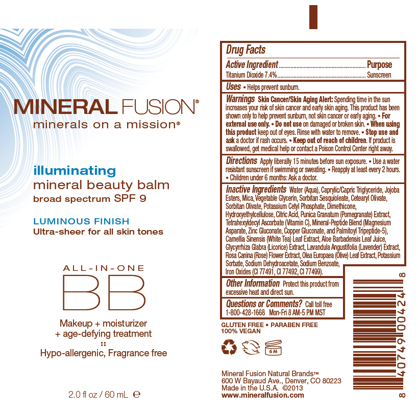 Illuminating Mineral Beauty Balm With Spf 9 (Titanium Dioxide) Cream [Mineral Fusion Natural Brands Llc]
