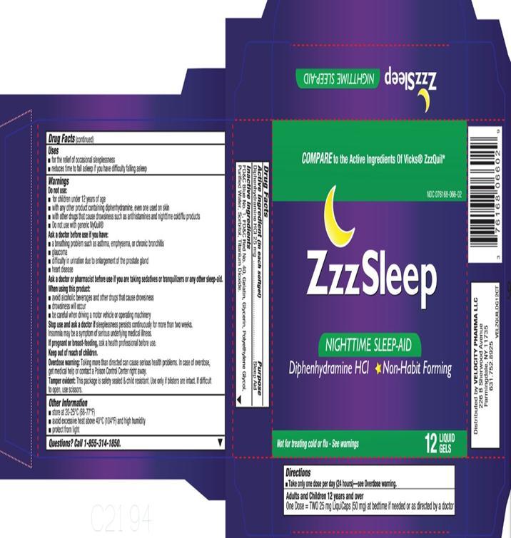 Zzzsleep (Diphenhydramine) Capsule, Liquid Filled [Velocity Pharma]