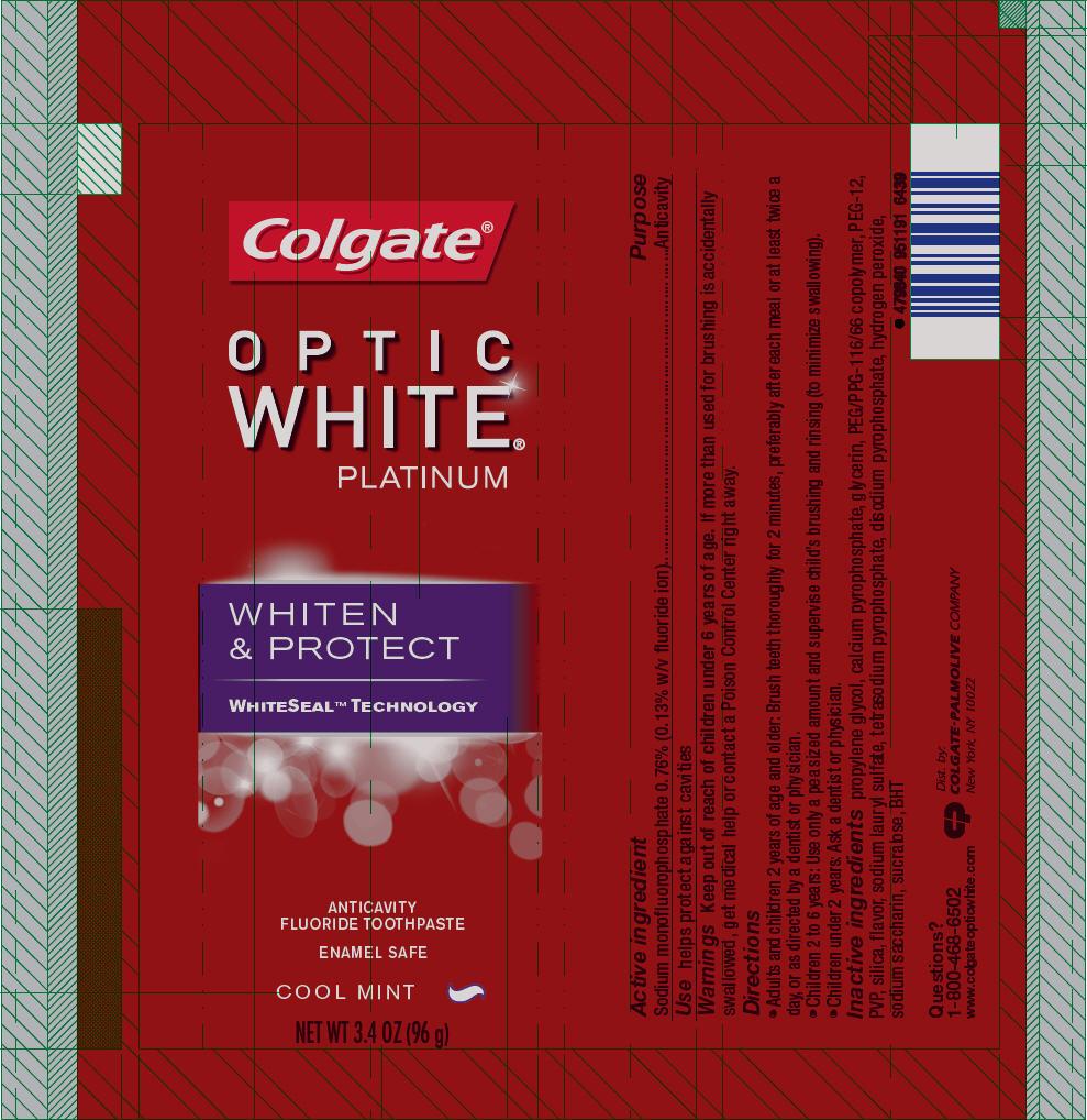 Colgate Optic White Platinum Cool Mint (Sodium Monofluorophosphate) Paste, Dentifrice [Mission Hills S.a De C.v]