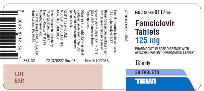 Label 125 mg. 30 Tablets