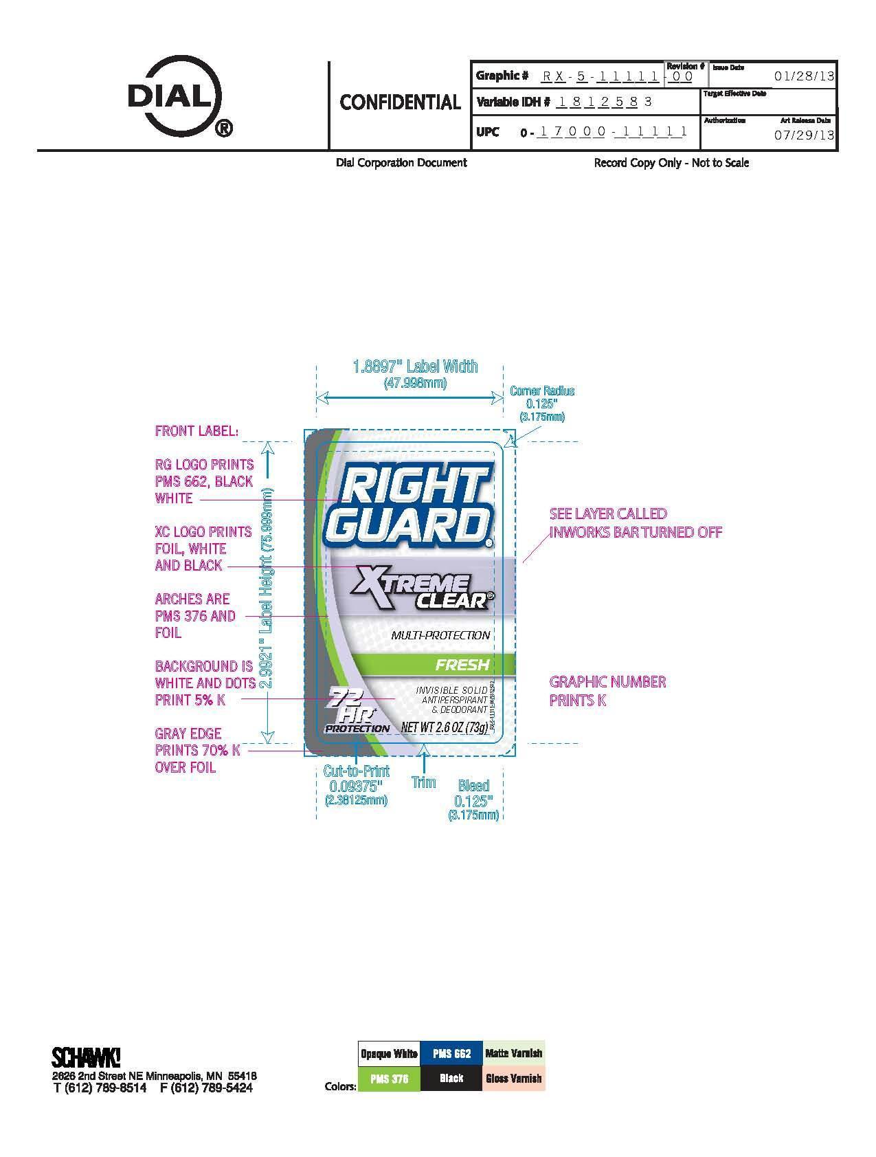 Right Guard Xtreme Clear Fresh (Aluminum Zirconium Tetrachlorohydrex) Stick [Vvf Illinois Services Llc]