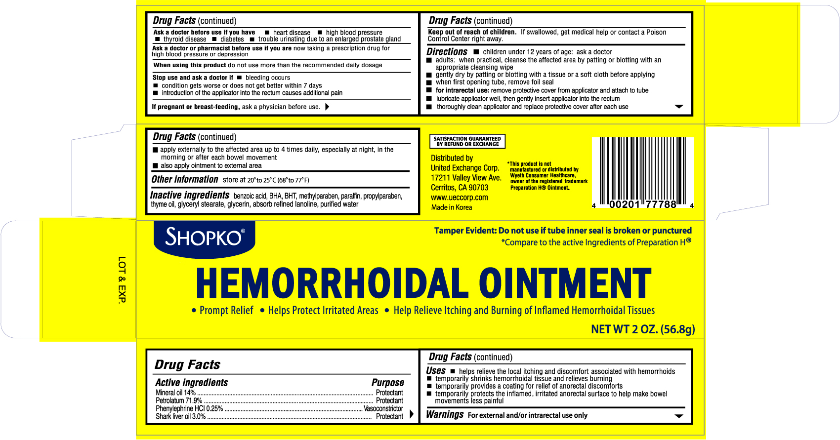 Shopko Hemorrhoidal (Mineral Oil,petrolatum,phenylephrine,shark Liver Oil) Ointment [United Exchange Corp.]