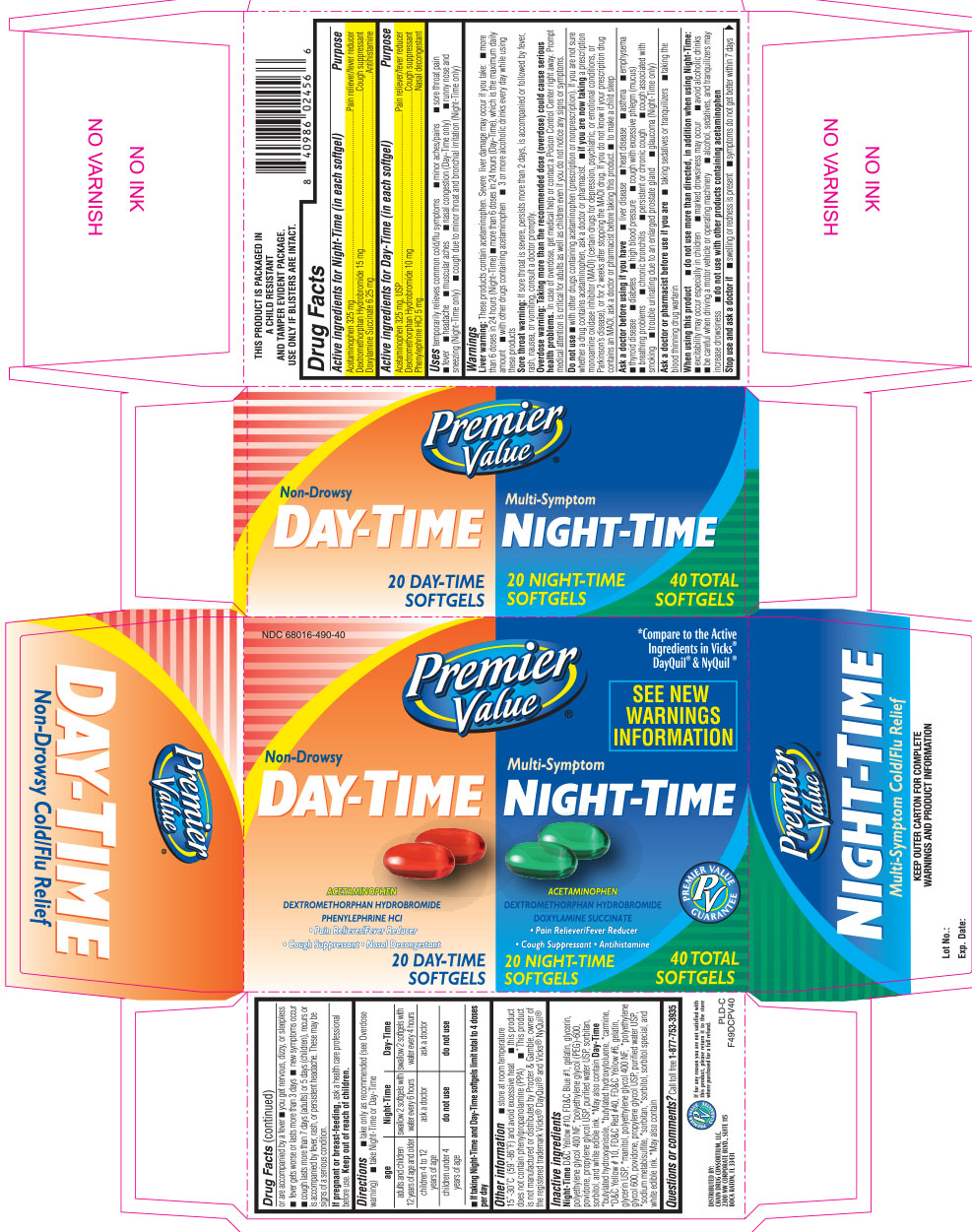 Premier value day-time night-time softgels 40 count