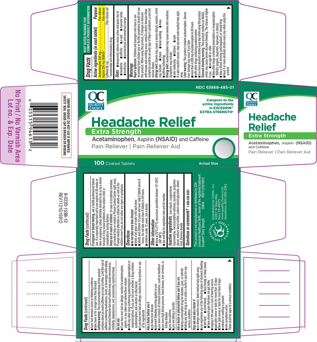 Extra Strength Headache Relief (Acetaminophen, Aspirin And Caffeine) Tablet, Film Coated [Chain Drug Marketing Association Inc]